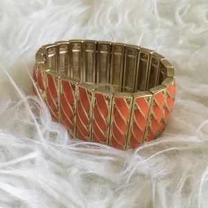 Banana Republic Orange and Gold Stretch Bracelet